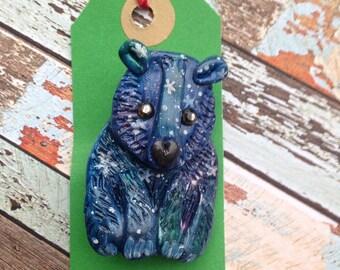 "Polymer Clay Brooch - ""Starry Blue Bear"""