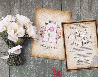 Beauty and Beast Wedding Set Invitation Inspired Beauty and