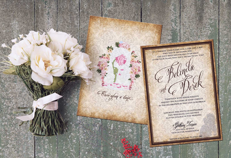 Beauty and Beast Wedding Set Invitation Inspired Beauty and – Beauty and the Beast Wedding Invitations