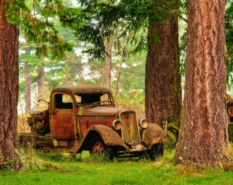 Old Rustic Pickup Truck Panorama Photography Print or Wrapped Canvas Washington Trees Vintage Fine Art Photograph Print Wall Decor
