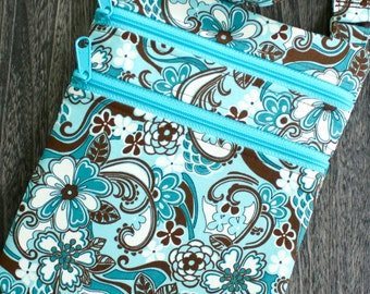 Brown and Turquoise Floral Zip and Go