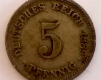 1889 Germany 5 Pfennig (copper - nickel) FREE SHIPPING