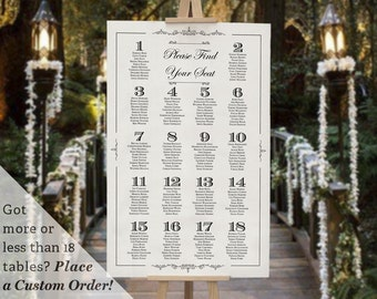 Printable Wedding Table Seating Chart Template Gatsby 1920s Dark Black