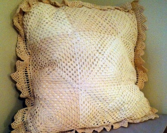 Crochet Pillow Cover, Vintage Pillow Cover