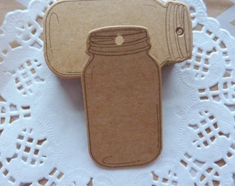 25 Jar Shaped Brown Kraft Paper Gift Tags Price Tag  6.5 x 3.5cm