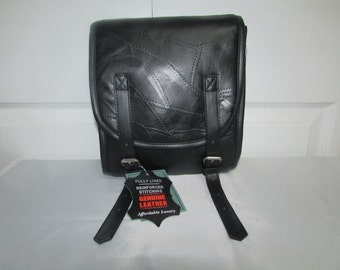 Vintage NOS Diamond Plate Black Buffalo Leather Motorcycle Sissy Bar Bag