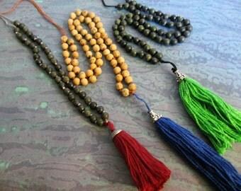 Beaded Gemstone Tassle Necklace