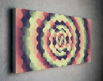 lemon abstract, abstract print, print on canvas, radial art, magenta abstract, canvas print, wall art