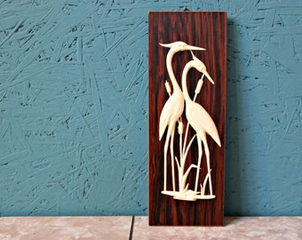 Retro Herons Wildlife and Rushes Wall Hanging