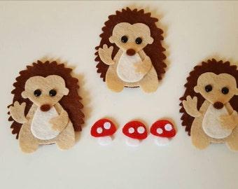 3 Handmade Felt Hedgehog Embellishments.Die cut animals.Felt animals.Craft embellishments.Card making, scrapbooking.free p&p