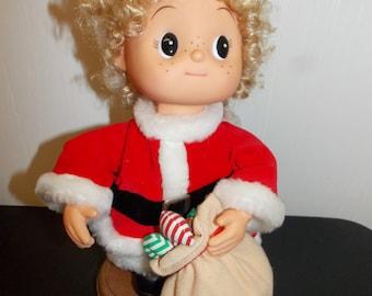 """Vintage 13"""" High Animated Christmas Girl w/Santa Sack Figure"""