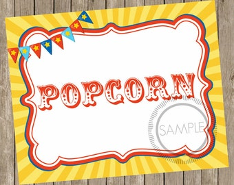 8x10 Popcorn Carnival / Circus Printable / Sign *INSTANT DOWNLOAD*