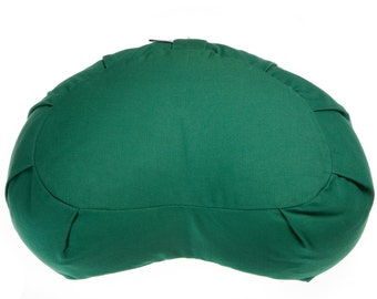 Green Crescent pleated Zafu COVER - with Large Size comfort seating - Yoga and Meditation