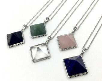 Gemstone Geometric Pyramid Necklace Pyramid Stone Charm Clear Rose Quartz Crystal Lapis Onyx Pendant Triangle Charm Gift wrapping NF02