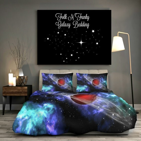 Amazing galaxy bedding cosmos duvet cover shams by for Outer space bedding
