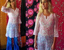 SHANNONMYINDI10 80s India Embroidered Flowers Pretty In Pink Tunic Med