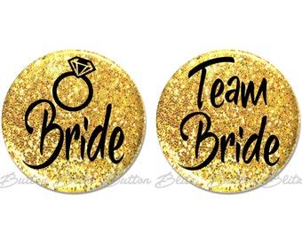 15 Team Bride Pins, Bachelorette Party Favors, Wedding Pinback Button, Gold Glitter Wedding Bridal Party, Bachelorette Pin - BB1791