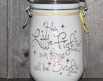 Personalised Glass Jar Love-Lite Jar Hey Little Fighter
