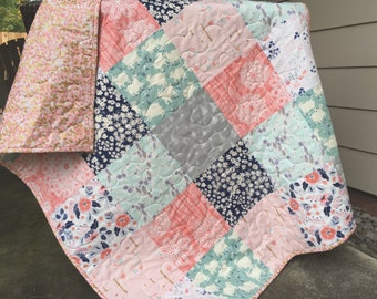 Baby quilt, little lamb, brambleberry ridge, navy-mint-coral-pink, floral-flowers-lambs-sheep