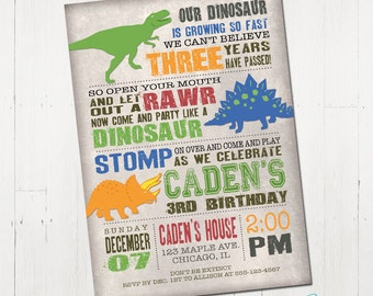 Dinosaur Birthday Invitation, Dinosaur Invitation, Dinosaur Printable Invitation, Dinosaur Invite, Dinosaur Party, Printable Invitation