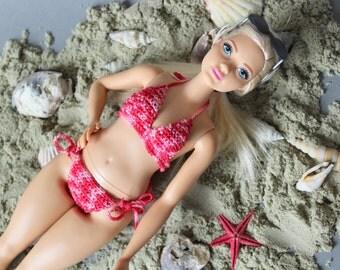 Curvy Barbie clothes - pink Barbie Fashionista fashion doll clothing, evolution plus size Barbie doll swimsuit