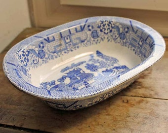 Antique Belgiun Willow square bowl / 1920's blue willow pattern bowl Stone china/ Boch freres