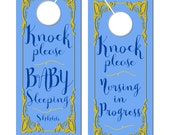 Baby Sleeping Door Hangers, Baby's nursing, 3.74 x 8.74 Blue Yellow Baby Shower favors, breastfeeding in progress sign, Do Not Disturb