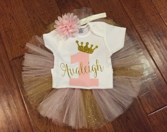 Pink and gold birthday outfit, pink and gold glitter outfit, pink and gold first birthday outfit, pink and gold tutu, pink and gold princess