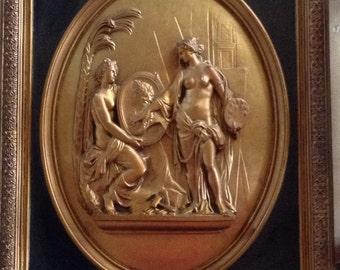 "Roman Greek Sculptural Framed Wall relief www.Neo-Mfg.com 19"""