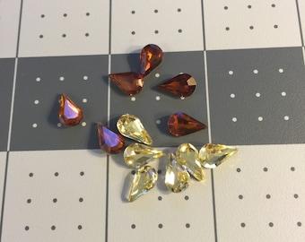 1cm by 0.5cm Yellow&Orange Teardrop  Rhinestone