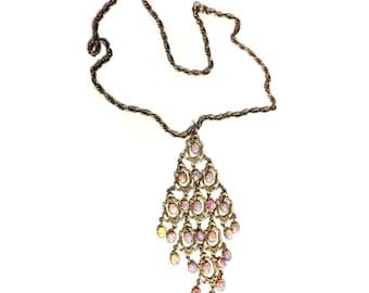 SALE: Teardrop Moonstone Vintage Pendant Necklace