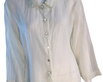 Checkered White Muted Green Buttondown Blouse - Size Medium