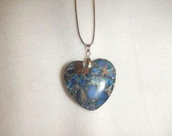 Heart-shaped Dark Blue Sea Sediment Jasper with Pyrite pendant necklace (JO379)