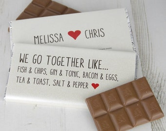 We go together couples chocolate bar - valentine chocolate - valentine gift - gift for couples