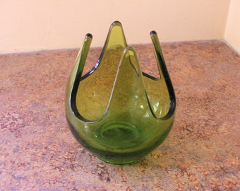 1970s Viking Glass Patio Lite Votive Candle Holder in Green.