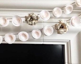 Paper Rose Garland - Paper Flower Garland - White - Music Sheet -Wedding Garland - Music Note Wall Art - Nursery Wall Art - Flower Bsckdrop