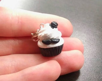 Fancy Mustache Cupcake Polymer Clay Charm