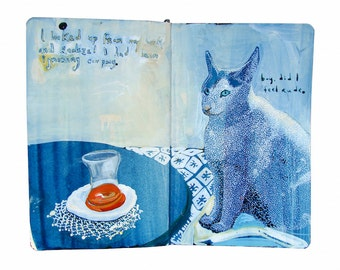 "Fine Art Print - Original Painting from Artist Travel Journal - ""Turkish Tea and Cat"""
