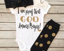 Baby Girl Bodysuit, God Answers Prayers Bodysuit For Baby Girls, Glitter Bodysuit, Sparkle Bodysuit, Religious Baby Shirt