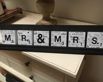 """Mr. & Mrs. Wedding Decoupaged """"Scrabble"""" Letters"""