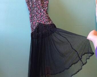 VINTAGE LINGERIE DRESS sheer floral top mesh lace bottom