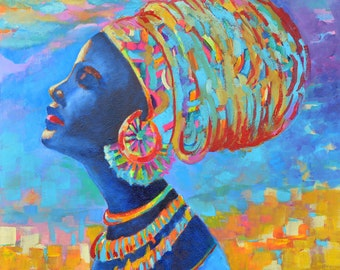 Black woman painting African woman painting in beautiful colorful head wrap by MWalulik Black beauty art Black lady painting Black woman art