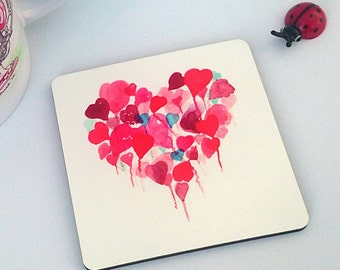 Floating Heart Art Coaster. Watercolour Artist. Valentine's gift. Pretty Coaster. Drinks Coaster. Heart Table Mat. Mothers Day Gift. Mum.