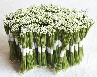 4800 Heads White  Flower Stamens green yarn