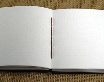 """Tiny Grid Paper Journal, 3/16"""" Space Dot-Grid: 5.5x4.25 Handmade Coptic-Bound Book, Sketchbook, Lab Book, Notebook. Size Piccolo."""