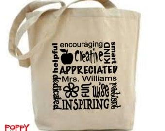 Personalized Teacher Bag, Teacher Thank You Gift, Tote Bag, Nursery Teacher Gift, Teaching Assistant, Teacher Appreciation, Canvas Tote.