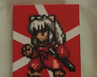 Free Shipping, Inuyasha Inspired Canvas, Perler Bead Canvas