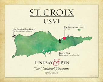 St. Croix USVI Map Print, Map of St. Croix, Travel Map Print of St. Croix, Anniversary Gift, Gift for Spouse, all USVI islands available