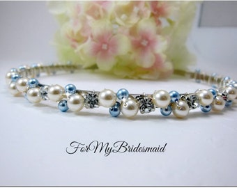 Wedding headband, Pearl Bridal headband, Pearl headband, Bridal headband, Bridal halo, Pearl hair vine Bridal hair accessory something blue