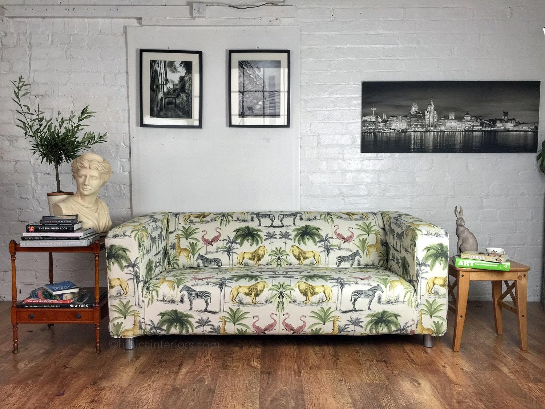 ikea klippan sofa cover in beautiful safari print cotton. Black Bedroom Furniture Sets. Home Design Ideas